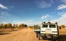A police nyala stands at the intersection to Vyeboom, Vuwani in Limpopo after a few days of unrest in the area. Picture: Thomas Holder/EWN