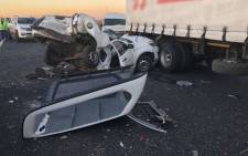 A damaged vehicle is seen at the scene of a collision involving 23 vehicles in Etwatwa near Benoni. Picture: ER24.