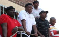 Julius Malema visits the Aurora Mine, to listen to the workers concerns. Picture: Taurai Maduna/EWN.
