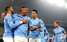 Manchester City players celebrate after beating Wolverhampton Wanderers FC 4-1 on 2 March 2021. Picture: