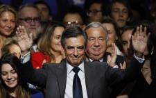 FILE: Francois Fillon (C). Picture: AFP.