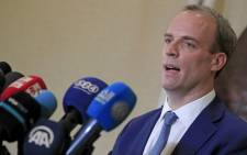 FILE: British Foreign Secretary Dominic Raab speaks during a joint press conference with Sudanese foreign minister at Khartoum airport on January 21, 2021. Picture: Ashraf Shazly/AFP.
