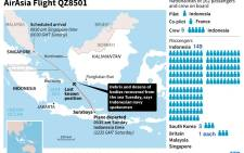 Updated map showing the area southwest of Pangkalan Bun where debris and dozens of bodies were recovered from the sea Tuesday in the AirAsia plane search, according to the Indonesian navy. Source: AFP.