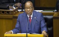 FILE: Former President Jacob Zuma answers questions during the last presidential answer session for the year in Parliament on 2 November 2017. Picture: AFP