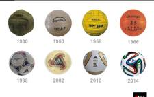 How the World Cup soccer ball has changed over the years - from 1930 to today. Picture: EWN