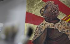 Artist Ayanda Mabulu's painting which depicts a nude President Jacob Zuma with a naked young girl has received mixed reactions nationwide. Picture: Reinart Toerien/EWN.