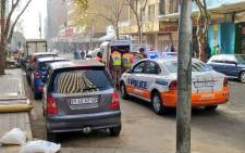 JMPD officers check permits at Delvers & Kok streets in the Joburg CBD. Picture: @JoburgMPD/Twitter