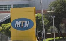 The logo at the head office of South African mobile phone giant, MTN. Picture: EPA/Kim Ludbrook.