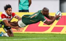 Springbok wing Makazole Mapimpi scores a try in the Rugby World Cup quarterfinal match against Japan on 20 October 2019. Picture: @Springboks/Twitter