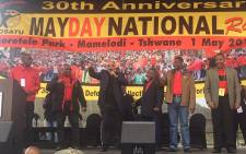 Leadership of SACP COSATU, SANCO and ANC stand united at Cosatu rally in Pretoria.Picture: Kgothatso Mogale/EWN