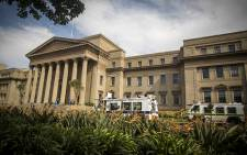 Police Nyalas stand guard at Wits University Senate House. Picture: Thomas Holder/EWN