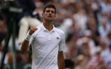 Novak Djokovic celebrates a win. Picture: @Wimbledon/Twitter