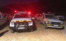 EMS vehicles seen during firefighting operations in Pringle Bay. Picture: Shamiela Fisher/EWN.