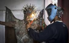 Zimbabwean brothers Mambakwedza and Chenjerai Mutasa use scrap metal and discarded objects to create their art. Picture: Aletta Gardner/EWN
