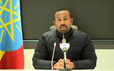 This frame grab from a video obtained from the Ethiopian Public Broadcaster (EBC) on 4 November 2020, shows Ethiopian Prime Minister Abiy Ahmed explaining his military response to a deadly attack by the ruling party of Tigray, a region locked in a long-running dispute with Addis Ababa, on a camp housing federal troops. Picture: AFP