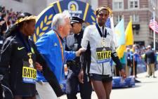 Lemi Berhanu Hayle of Ethiopia celebrates after winning the 120th Boston Marathon on 18 April, 2016 in Boston, Massachusetts. Picture: AFP/Maddie Meyer