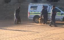 Police patrol at Wits University as the institution prepares to reopen, following protests over free tertiary education. Picture: Clement Manyathela/EWN