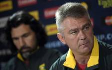FILE: Springboks head coach Heyneke Meyer and lock Victor Matfield. Picture: AFP.