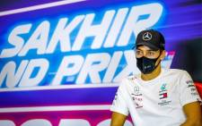 Mercedes' British driver George Russell speaks during the presser ahead of the Sakhir Formula One Grand Prix at the Bahrain International Circuit in the city of Sakhir on December 3, 2020.  Picture: AFP