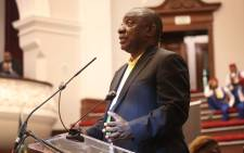 President Cyril Ramaphosa addresses a crowd of people at the City Hall in Cape Town. Picture: Bertram Malgas