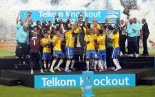 Mamelodi Sundowns celebrate at the Telkom Knockout on Reconciliation Day 16 December 2015, where they handed Kaizer Chiefs their second three-goal clobbering this season. Picture: sundownsfc.co.za
