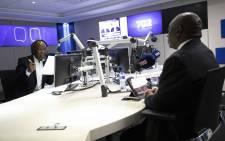 Radio 702's Xolani Gwala talks to President Cyril Ramaphosa. Picture: Abigail Javier/EWN