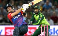 England's Liam Livingstone hits a six against Pakistan in their Twenty20 international match on 20 July 2021. Picture: @englandcricket/Twitter