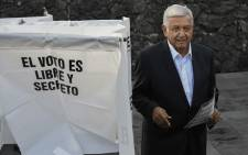 "Mexico's new president Andres Manuel Lopez Obrador for the ""Juntos haremos historia"" party, casts his vote during general elections, in Mexico City, on 1 July, 2018. Picture: AFP."