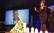 FILE: Dumi Masilela's wife Simphiwe Ngema singing at her husband's memorial in Johannesburg. Picture: Hitekani Magwedze/EWN.