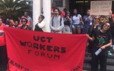 Some workers, including gardeners, have downed tools and are being supported by student activists. Picture: Masa Kekana/EWN.