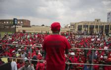 EFF leader Julius Malema addressing members outside Chris Hani Baragwanath Hospital as the political party held a demonstration demanding improvements in public health care. Picture: Ihsaan Haffejee/EWN
