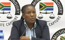 A YouTube screengrab shows Mathane Makgatho at the state capture commission on 6 June 2019.
