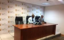 Home Affairs Minister Malusi Gigaba (left) at a press briefing. Picture: Masa Kekana/EWN.