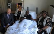 Former President FW de Klerk visits fellow Nobel Peace Prize laureate Arch Bishop Desmond Tutu in hospital. Picture: Benny Gool/Oryx.