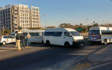 Taxi's blocking the entrance to the Midrand Gautrain station in Gauteng. Picture: Khumu Thema/iWitness