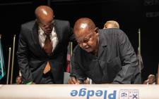 FILE: Cope's Mosiua Lekota signs the IEC code of conduct. Picture: Abigail Javier/Eyewitness News.