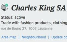 A screengrab of the business details of Charles King SA.