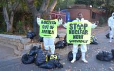 Greenpeace anti-nuclear demonstrators protest outside the IDC in Sandton. Picture: Tshepo Lesole/EWN