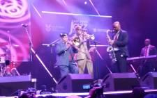 Tshepo Tshola and Jonas Gwwangwa entertain the crowd at the Cape Town International Jazz Festival. Picture: Refilwe Pitjeng/EWN.