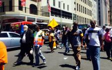 Traffic in the CBD was heavily congested while the group of about 40 taxi drivers matched from Keizergracht Street. Picture: Shamiela Fisher/EWN.