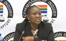 A YouTube screengrab shows Mathane Makgatho at the state capture commission on 7 June 2019.