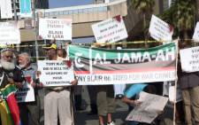 Al Jama-ah protests outside the Sandton Convention Centre against former British Prime Minister Tony Blair during the 2012 2012 Discovery Invest Leadership Summit. The group wants Blair to be tried for his support of the US invasion of Iraq. Picture: Tumisang Ndlovu/Eyewitness News.