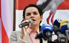 Belarus opposition leader Svetlana Tikhanovskaya addresses media representatives during a press conference at The Lithuanian Permanent Representation in Brussels on 21 September 2020. Picture: AFP