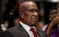 Former apartheid struggle stalwart and one of the last two surviving Rivonia triallists Andrew Mlangeni looks on at the inaugural George Bizos Human Rights Award in Johannesburg on 14 March 2018. Picture: AFP