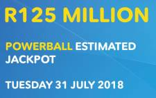 Powerball at estimated at R125 million. Picture: Lotto website.