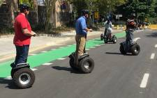 The 702 team on their Segways during day one of the EcoMobility Festival in Sandton. Picture: Vumani Mkhize/EWN.