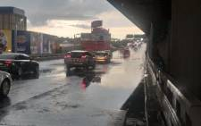 Traffic officers have blocked off a stretch the M1 double-decker freeway due to extreme flooding. Picture: Twitter/JMPD