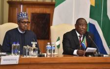 Nigerian President Muhammadu Buhari (left) and President Cyril Ramaphosa issue statements during a state visit at the Union Buildings in Tshwane on 3 October 2019. Picture: @PresidencyZA/Twitter