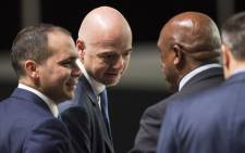 Tokyo Sexwale (R) of South Africa, candidate for Fifa President, speaks to Prince Ali al-Hussein (L), of Jordan, another candidate for the FifaPresidency, and Gianni Infantino (C), of Switzerland, co-candidate for the post, during the Extraordinary Fifa Congress 2016 at the Hallenstadion in Zurich, Switzerland, 26 February 2016. Picture: EPA/Ennio Leanza.