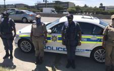 Gauteng Premier David Makhura and Police Minister, Bheki Cele and handed over Highway Patrol Vehicles to the South African Police. Picture: Twitter @GautengProvince .